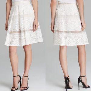 Rebecca Taylor BLACK Pleated Silk Lace Skirt